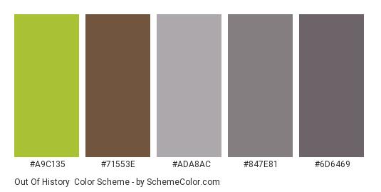 Out of History - Color scheme palette thumbnail - #a9c135 #71553e #ada8ac #847e81 #6d6469