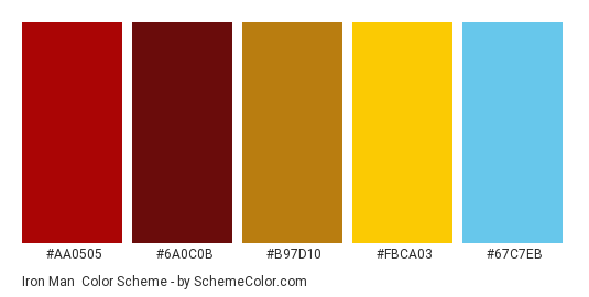 Iron Man - Color scheme palette thumbnail - #aa0505 #6a0c0b #b97d10 #fbca03 #67c7eb