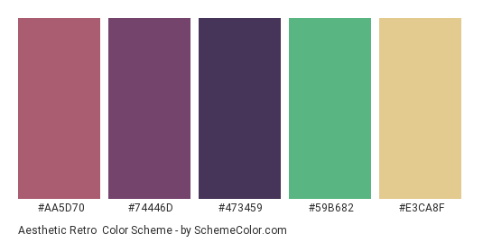 Aesthetic Retro - Color scheme palette thumbnail - #aa5d70 #74446d #473459 #59B682 #E3CA8F