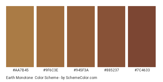 Earth Monotone - Color scheme palette thumbnail - #aa7b45 #9f6c3e #945f3a #885237 #7c4633
