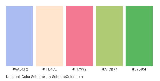 Unequal - Color scheme palette thumbnail - #aabcf2 #ffe4ce #f17992 #afcb74 #59b85f