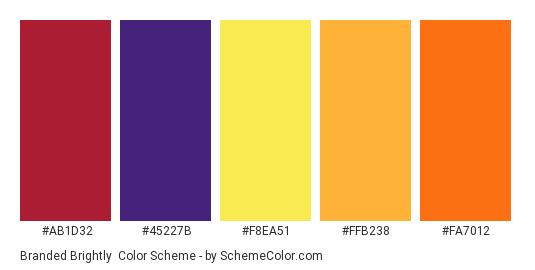 Branded Brightly - Color scheme palette thumbnail - #ab1d32 #45227b #f8ea51 #ffb238 #fa7012