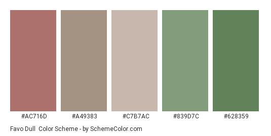 Favo Dull - Color scheme palette thumbnail - #ac716d #a49383 #c7b7ac #839d7c #628359