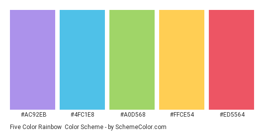 Five Color Rainbow - Color scheme palette thumbnail - #ac92eb #4fc1e8 #a0d568 #ffce54 #ed5564