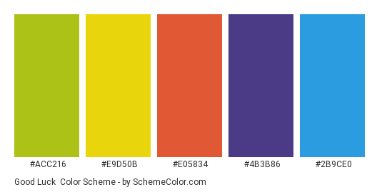 Good Luck - Color scheme palette thumbnail - #acc216 #e9d50b #e05834 #4b3b86 #2b9ce0