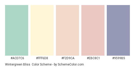 Wintergreen Bliss - Color scheme palette thumbnail - #acd7c6 #fff6d8 #f2d9ca #ebc8c1 #9599b5