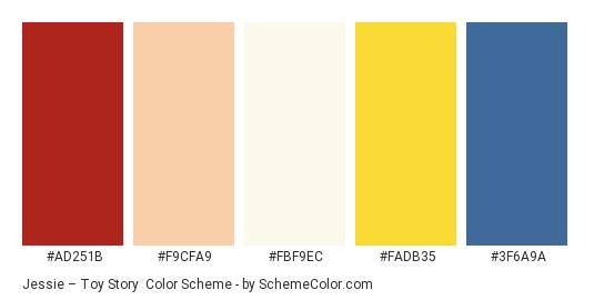 Jessie – Toy Story - Color scheme palette thumbnail - #ad251b #f9cfa9 #fbf9ec #fadb35 #3f6a9a
