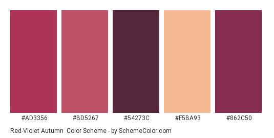 Red-Violet Autumn - Color scheme palette thumbnail - #ad3356 #bd5267 #54273c #f5ba93 #862c50