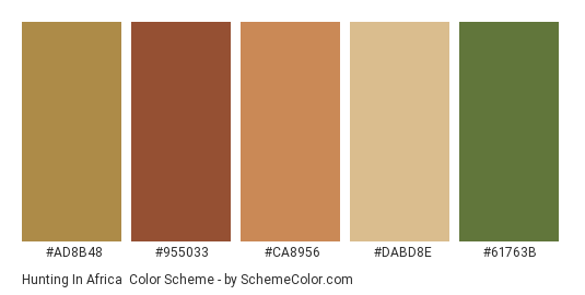 Hunting in Africa - Color scheme palette thumbnail - #ad8b48 #955033 #ca8956 #dabd8e #61763b