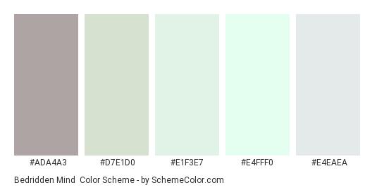 Bedridden Mind - Color scheme palette thumbnail - #ada4a3 #d7e1d0 #e1f3e7 #e4fff0 #e4eaea