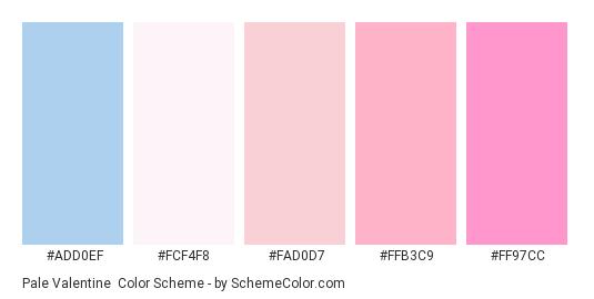 Pale Valentine - Color scheme palette thumbnail - #add0ef #fcf4f8 #FAD0D7 #ffb3c9 #ff97cc