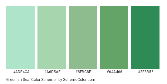 Greenish Sea - Color scheme palette thumbnail - #ade4ca #a6d5ae #8fbc8e #64a466 #2e8b56