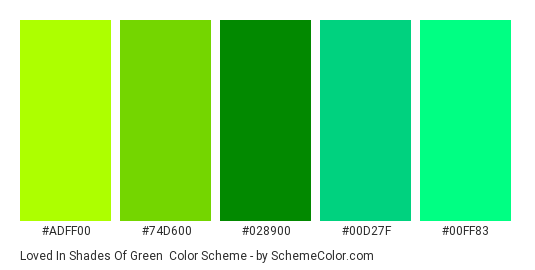Loved In Shades of Green - Color scheme palette thumbnail - #adff00 #74d600 #028900 #00d27f #00ff83