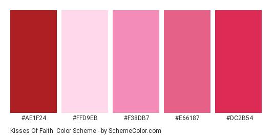 Kisses of Faith - Color scheme palette thumbnail - #ae1f24 #ffd9eb #f38db7 #e66187 #dc2b54