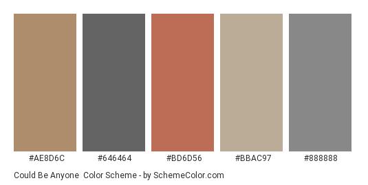 Could be Anyone - Color scheme palette thumbnail - #ae8d6c #646464 #bd6d56 #bbac97 #888888