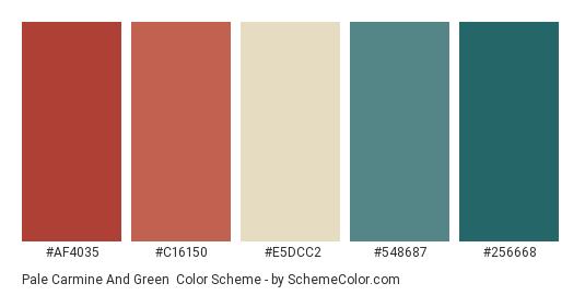 Pale Carmine and Green - Color scheme palette thumbnail - #af4035 #c16150 #e5dcc2 #548687 #256668
