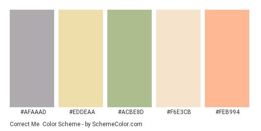 Correct Me - Color scheme palette thumbnail - #afaaad #eddeaa #acbe8d #f6e3cb #feb994