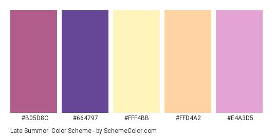 Late Summer - Color scheme palette thumbnail - #b05d8c #664797 #fff4bb #ffd4a2 #e4a3d5