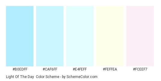 Light Of The Day - Color scheme palette thumbnail - #b0edff #caf6ff #e4feff #feffea #fceef7
