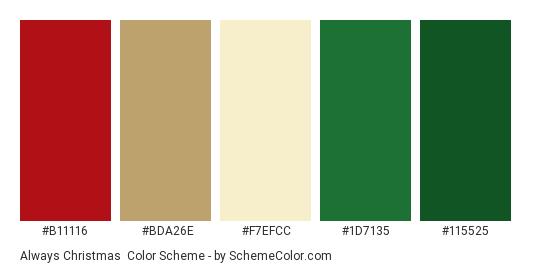Always Christmas - Color scheme palette thumbnail - #b11116 #bda26e #f7efcc #1d7135 #115525