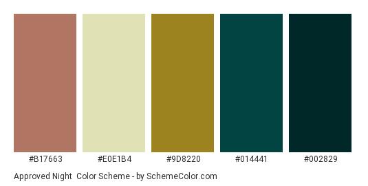 Approved Night - Color scheme palette thumbnail - #b17663 #e0e1b4 #9d8220 #014441 #002829