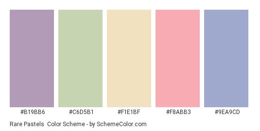 Rare Pastels - Color scheme palette thumbnail - #b19bb6 #c6d5b1 #f1e1bf #f8abb3 #9ea9cd