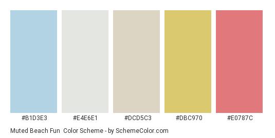 Muted Beach Fun - Color scheme palette thumbnail - #b1d3e3 #e4e6e1 #dcd5c3 #dbc970 #e0787c