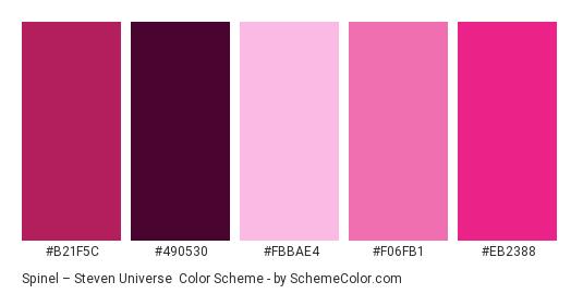 Spinel – Steven Universe - Color scheme palette thumbnail - #b21f5c #490530 #fbbae4 #f06fb1 #eb2388