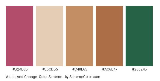 Adapt and Change - Color scheme palette thumbnail - #b24e6b #e5cdb5 #c48e65 #ac6e47 #266245