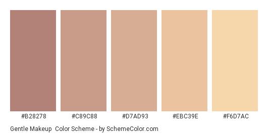 Gentle Makeup - Color scheme palette thumbnail - #b28278 #c89c88 #d7ad93 #ebc39e #f6d7ac