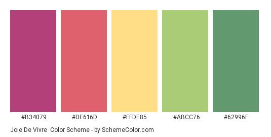 Joie de Vivre - Color scheme palette thumbnail - #b34079 #de616d #FFDE85 #ABCC76 #62996F