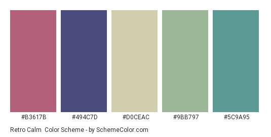 Retro Calm - Color scheme palette thumbnail - #b3617b #494c7d #d0ceac #9bb797 #5c9a95