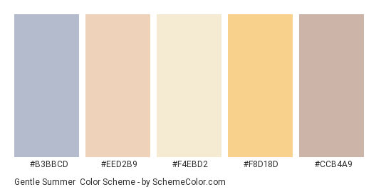 Gentle Summer - Color scheme palette thumbnail - #b3bbcd #eed2b9 #f4ebd2 #f8d18d #ccb4a9