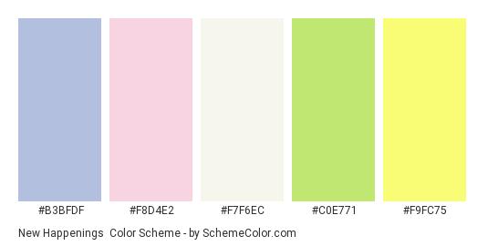New Happenings - Color scheme palette thumbnail - #b3bfdf #f8d4e2 #f7f6ec #c0e771 #f9fc75