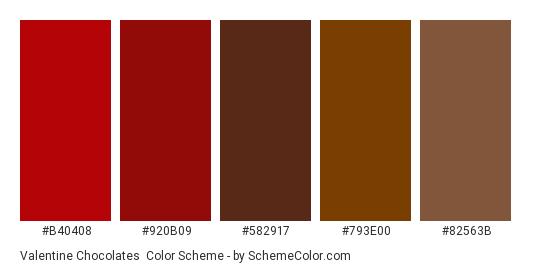 Valentine Chocolates - Color scheme palette thumbnail - #b40408 #920b09 #582917 #793e00 #82563b