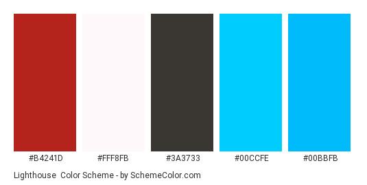 Lighthouse - Color scheme palette thumbnail - #b4241d #fff8fb #3a3733 #00ccfe #00bbfb