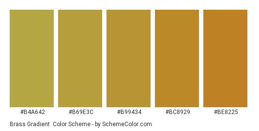 Brass Gradient - Color scheme palette thumbnail - #b4a642 #b69e3c #b99434 #bc8929 #be8225