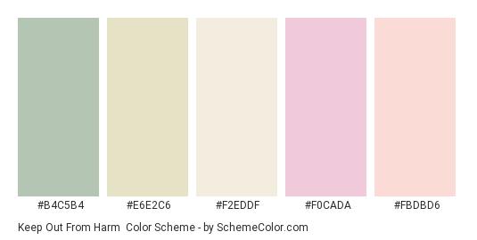 Keep Out From Harm - Color scheme palette thumbnail - #b4c5b4 #e6e2c6 #f2eddf #f0cada #fbdbd6