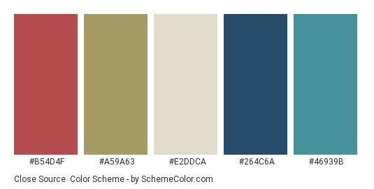 Close Source - Color scheme palette thumbnail - #b54d4f #a59a63 #e2ddca #264c6a #46939b