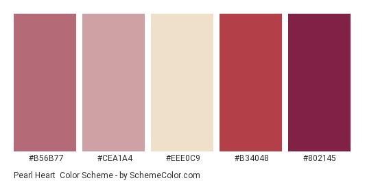 Pearl Heart - Color scheme palette thumbnail - #b56b77 #cea1a4 #eee0c9 #b34048 #802145
