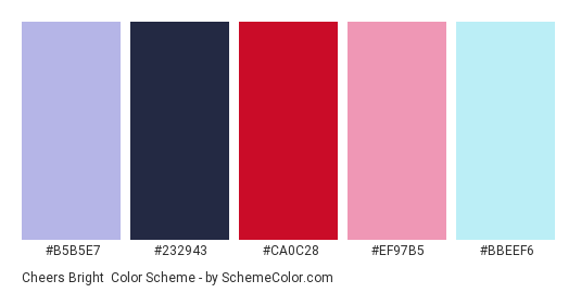 Cheers bright - Color scheme palette thumbnail - #b5b5e7 #232943 #ca0c28 #ef97b5 #bbeef6