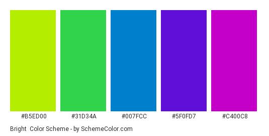 Bright - Color scheme palette thumbnail - #b5ed00 #31d34a #007fcc #5f0fd7 #c400c8