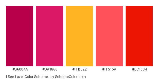 I See Love - Color scheme palette thumbnail - #b6004a #da1866 #ffb522 #ff515a #ec1504