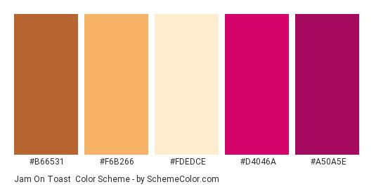 Jam on Toast - Color scheme palette thumbnail - #b66531 #f6b266 #fdedce #d4046a #a50a5e