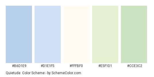 Quietude - Color scheme palette thumbnail - #b6d1e9 #d1e1f5 #fffbf0 #e5f1d1 #cce3c2