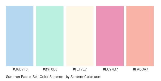 Summer Pastel Set - Color scheme palette thumbnail - #b6d7f0 #b9f0e0 #fef7e7 #ec94b7 #fab3a7