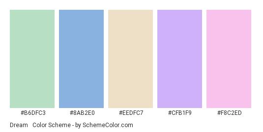Dream #3 - Color scheme palette thumbnail - #b6dfc3 #8ab2e0 #eedfc7 #cfb1f9 #f8c2ed