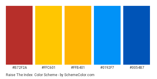 Raise The Index - Color scheme palette thumbnail - #b72f2a #ffc601 #ffb401 #0192f7 #0054b7