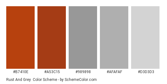 Rust and Grey - Color scheme palette thumbnail - #b7410e #a53c15 #989898 #afafaf #d3d3d3
