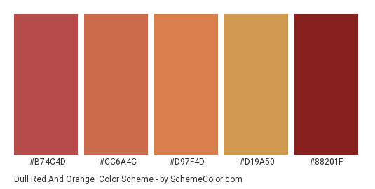 Dull Red and Orange - Color scheme palette thumbnail - #b74c4d #cc6a4c #d97f4d #d19a50 #88201f